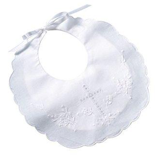 "Lillian Rose Cotton Christening Baby Bib, White, 8.5"" x 9"""