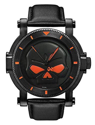 Harley-Davidson Men's Bulova Black Willie G Skull Wrist Watch