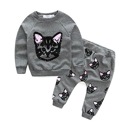 puseky Toddler Kids Girls Cute Cat Sweatshirt Tops & Pants
