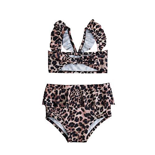 2b45234d746e 2Pcs Set Toddler Baby Girl Swimsuit Floral Leopard Ruffle Swimwear ...