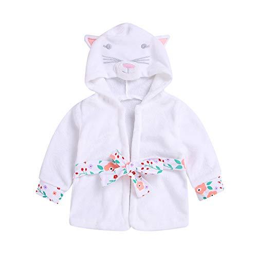 Baby Toddler Girl Coral Fleece Bathrobe Animal Hooded Towel Robe
