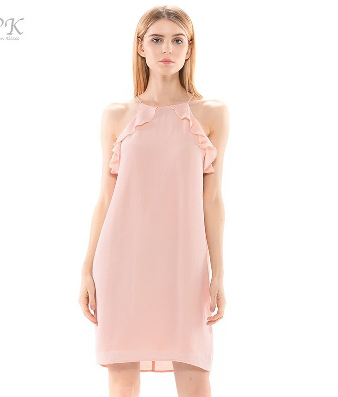 PK nude dress summer waterfall ruffles full lining party casual pink