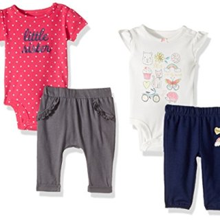 Carter's Baby Girls' 4-Piece Bodysuit and Pant Set