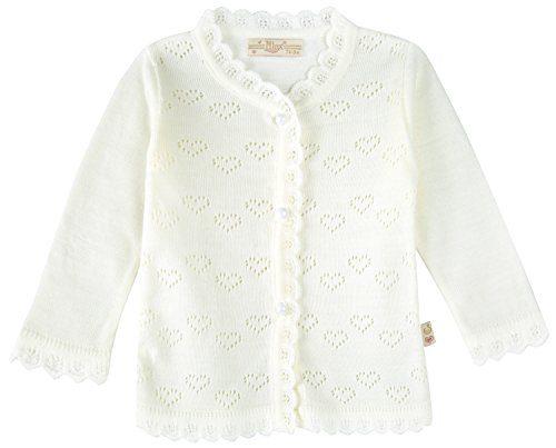 Lilax Baby Girls' Little Hearts Knit Cardigan Sweater 6M Cream