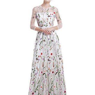 YSMei Women's Summer Embroidery Flower Long Prom Dress