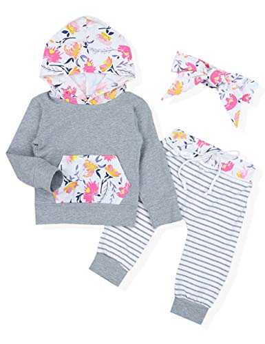 Baby Girl Outfits Florals Hoodie Top with Pocket Striped Long Pants