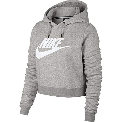 Nike Womens Rally Hoodie Crop Top Sweatshirt Grey Heather/White