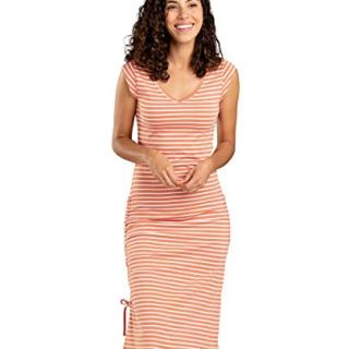 Toad&Co Women's Muse Dress, Salmon Coral Balanced Stripe