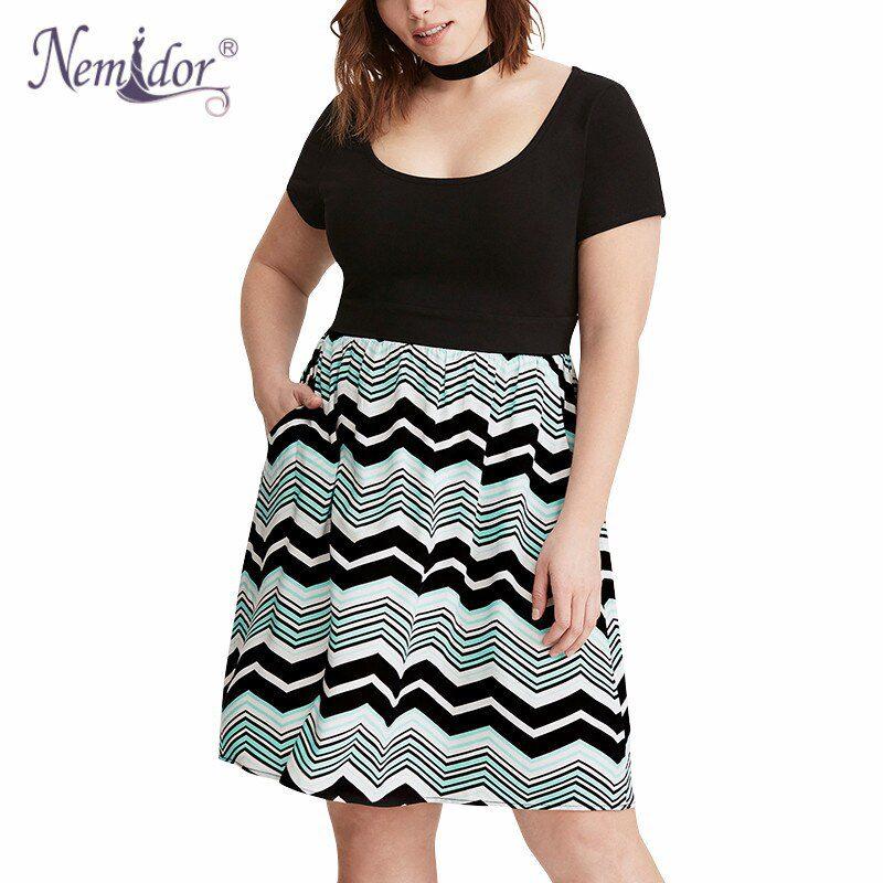 Nemidor Women Casual O-neck Wave Striped Midi Plus Size