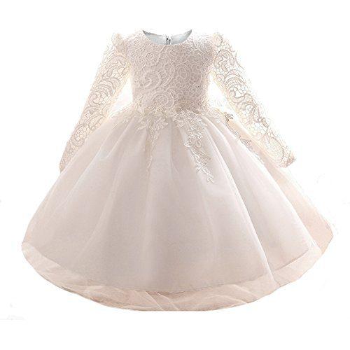 Myosotis510 Girls' Lace Princess Wedding Baptism Dress