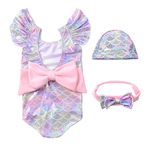 JerrisApparel Girl Mermaid Swimwear Fish Scale Swimsuit Hat