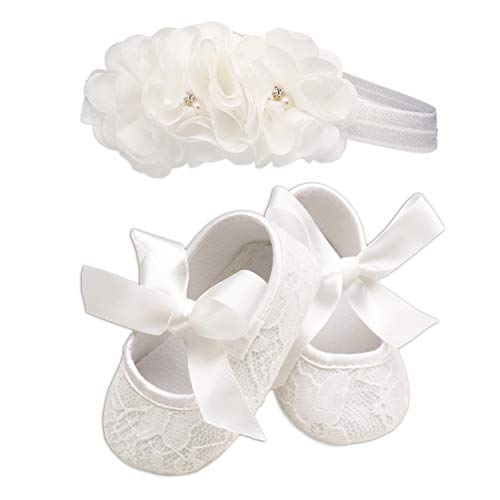 Light Ivory Lace Baptism Christening Shoe and Headband Set