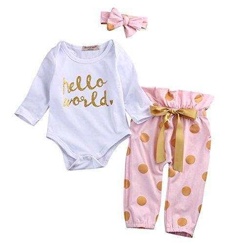 3Pcs Infant Newborn Baby Girls Hello World Romper Tops
