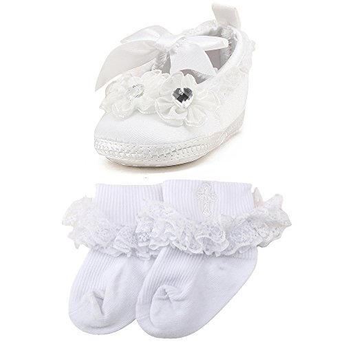 OOSAKU Baby Girls Christening Baptism Shoes Wedding Party Slipper