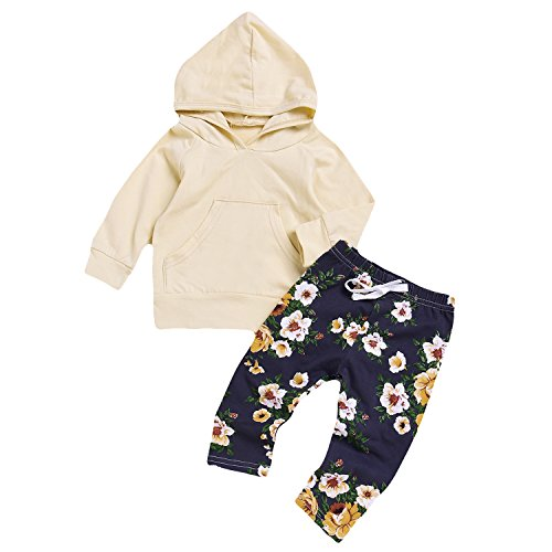 Newborn Toddler Baby Girls Pocket Hoodie+ Floral Pant Set Leggings