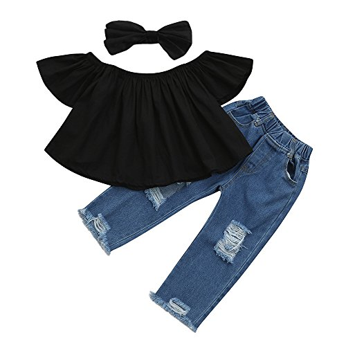 Littleice Toddler Kids Baby Girls Off Shoulder Crop Tops + Hole Denim