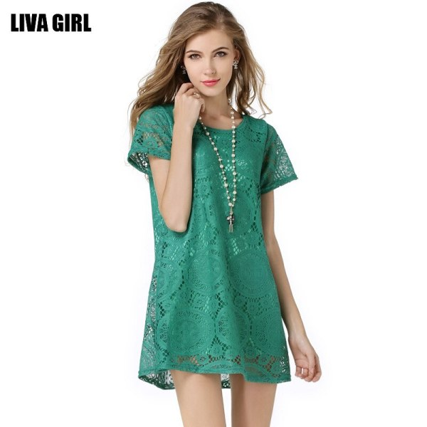 17 Soft Fox Brand Women Lace Sexy Dress For Summer O-Neck