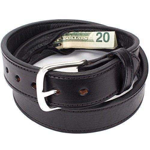 Hidden Money Pocket Travel Leather Belt (Size 34, Black)