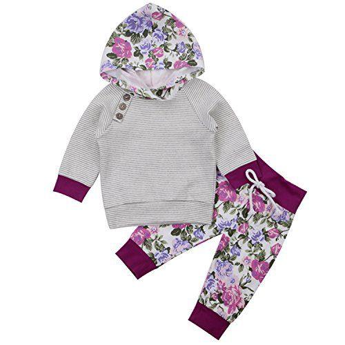 2 Pcs Baby Girls Florals Outfit Set Long Sleeve Hoodie Sweatshirt +Pants