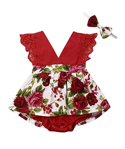 0-6 Years Big Sister Little Sister Ruffle Floral Jumpsuit Romper Dress