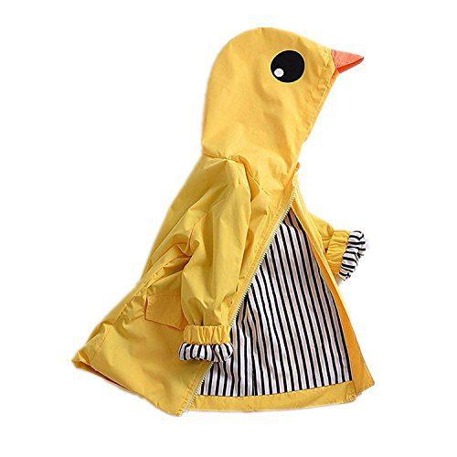 Toddler Baby Boy Girl Duck Raincoat Cute Cartoon Hoodie Zipper Coat