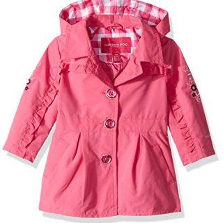 London Fog Baby Girls Lightweight Trench Coat, Dynamite Pink, 12M