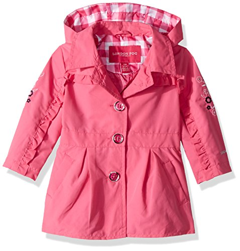 London Fog Baby Girls Lightweight Trench Coat, Dynamite Pink, 12M