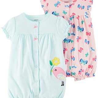 Carter's Baby Girls' 2-Pack Romper, Bird/Butterfly