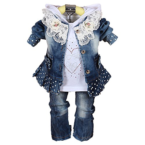 Baby Girls Denim Clothing Sets 3 Pieces Sets T Shirt Denim Jacket and Jeans
