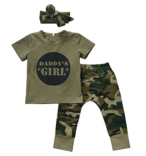 2 Styles Daddy's Baby Boy Girl Camouflage Short Sleeve T-shirt