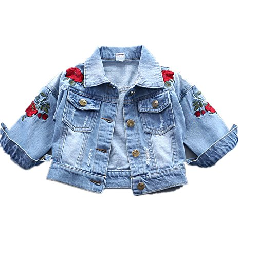 Baby Girl's Denim Jacket With Rose Flower Embroidery