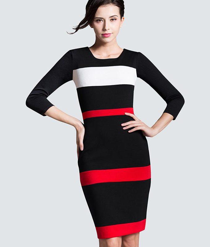Women Sheath Patchwork Striped Elegant O-Neck Dark Blue Summer Dress