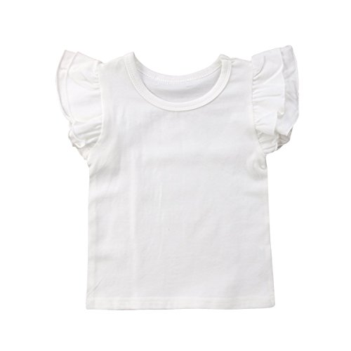 Infant Toddler Baby Girl Top Basic Plain Ruffle T-Shirt Blouse