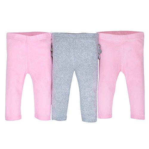 Gerber Baby Girls' 3-Pack Organic Pant, Gray/Light Pink, Newborn