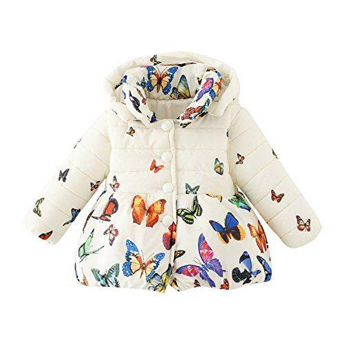 Jlong Baby Girls Boy Winter Warm Printed Butterfly Long Sleeves Coat Jacket