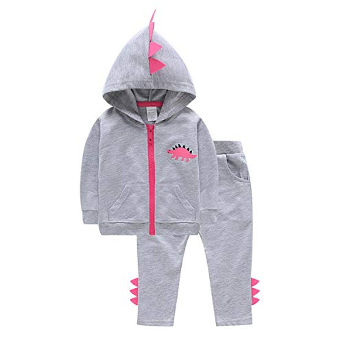 Fashion Baby Boy Girl Dinosaur Hoodie Tracksuit Zipper Jacket