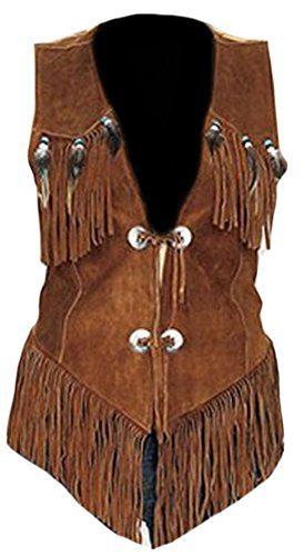 Classyak Women's Western Suede Leather Vest Suede Brown