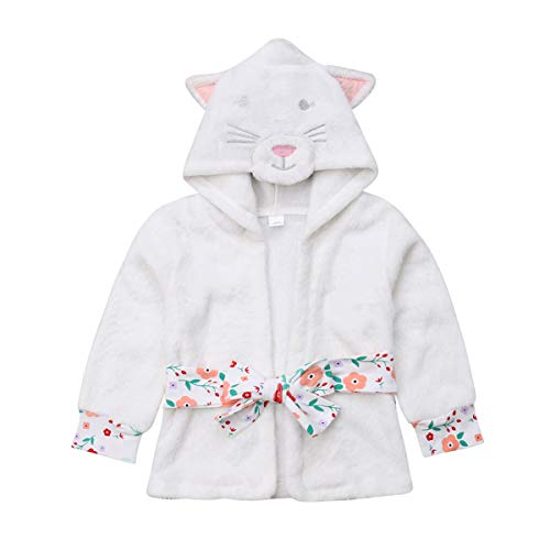 Unisex Baby Girls Boys Plush Hooded Animal Cat Bathrobe