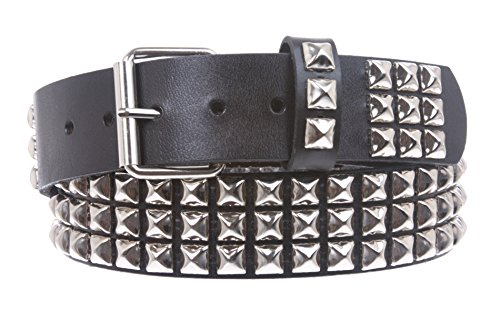 Snap On Three Row Punk Rock Star Metal Silver Studded Full Grain