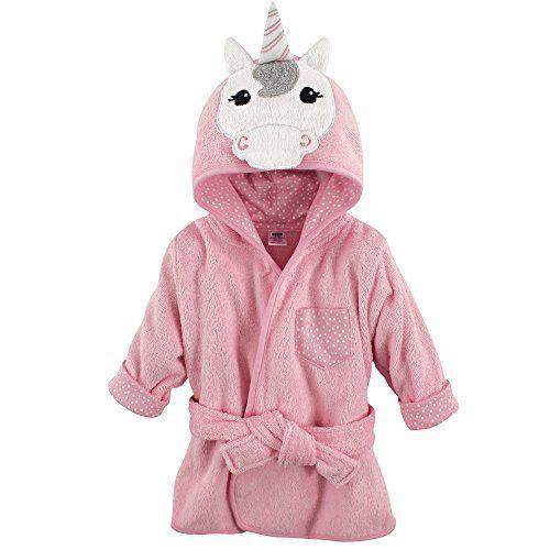 Hudson Baby Animal Face Hooded Bathrobe, Unicorn