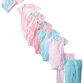 Gerber Baby-Girls Newborn Flowers 9 Piece Playwear Bundle