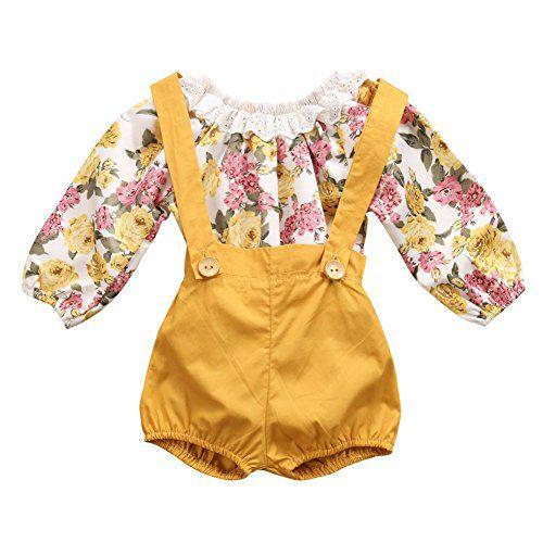 GRNSHTS Baby Girls Floral Suspenders Pant Set Long Sleeve Romper