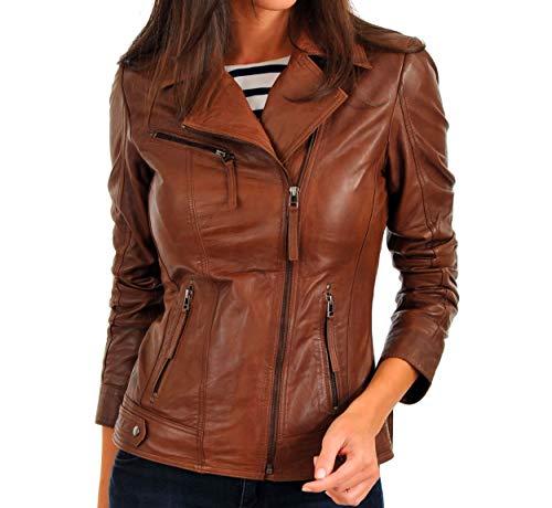 Womens Leather Jacket Bomber Motorcycle