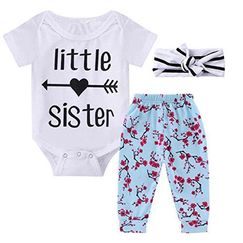 0-18M Infant Newborn Baby Girl Arrow Romper + Long Pants