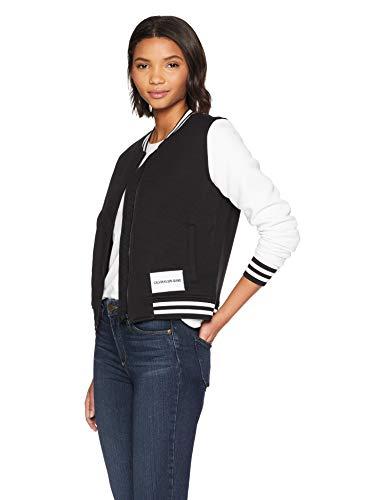 Calvin Klein Jeans Women's Bomber Jacket, Black Varsity, Large