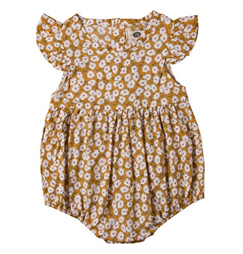Newborn Baby Girl Romper Floral Print Vintage Jumpsuit Outfit