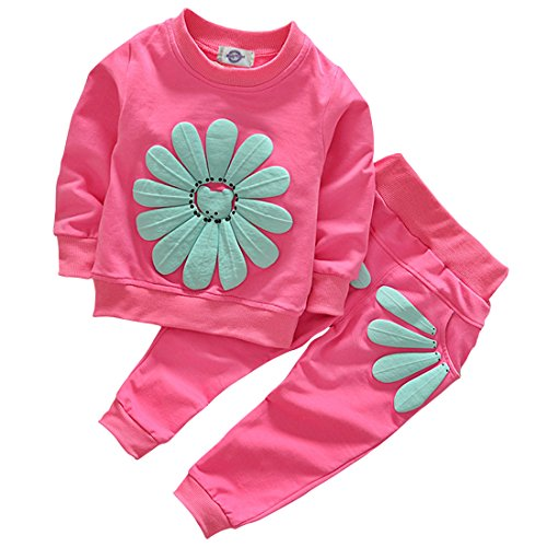 Toddler Baby Girls Sunflower Clothes Set Long Sleeve Top and Pants