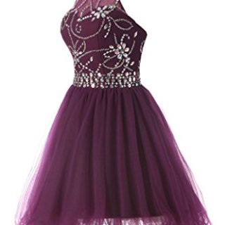 Musever Women's Halter Short Homecoming Dress Beading Tulle
