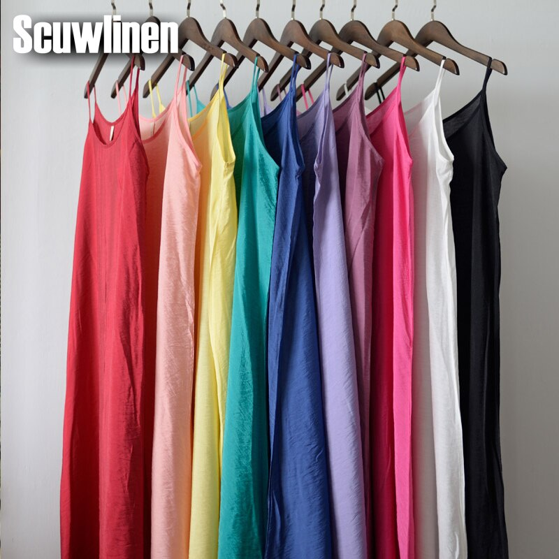 SCUWLINEN Vestidos Summer Dress Solid Multi-Color