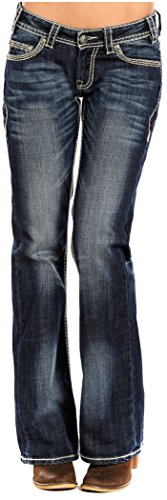 Rock N Roll Cowgirl Womens Cowgirl Ivory Stitch Riding Jeans